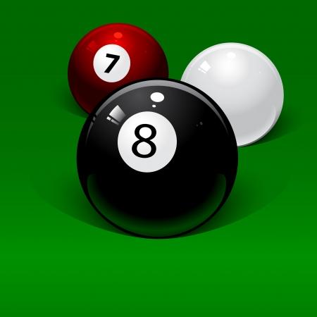 bola ocho: tres bolas de billar sobre un fondo verde Vectores