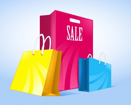 three colored package sales Vector