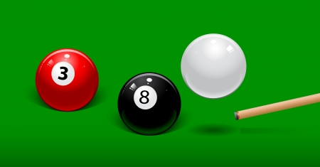 white billiard ball bounces over the black ball Vector