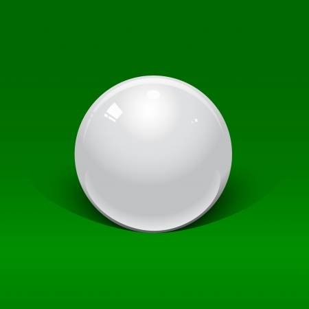 white billiard ball on a green background Vector