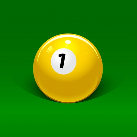 yellow billiard ball number one on a green background Vector