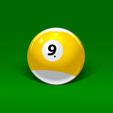 yellow-white billiard ball number nine on a green background Vector
