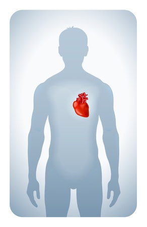 heart pain: heart highlighted on the silhouette of a man Illustration