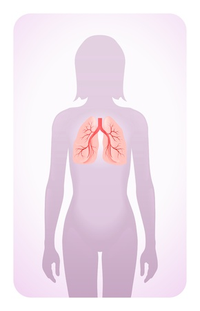 bowel cancer: lungs highlighted on the silhouette of a woman