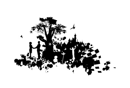 A painting of a man and woman who hold hands in the world of fantasy black and white Vector