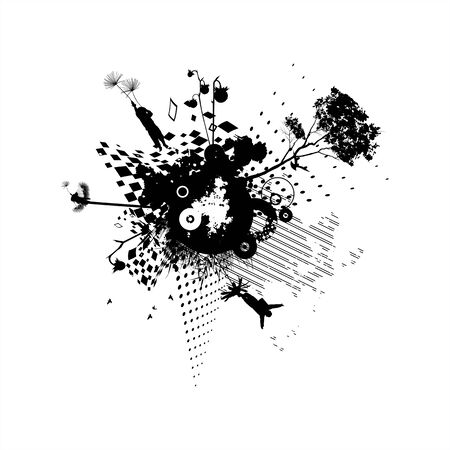 Background with dandelions and children black and white Vector