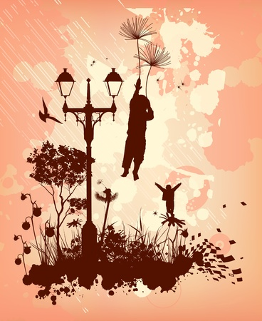 fantastic backdrop with a boy flying into the sky on a dandelion Vector