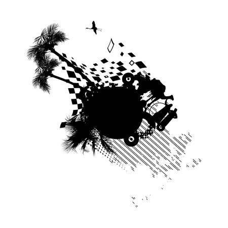 Bédouins carte postale avec des chameaux en noir et blanc