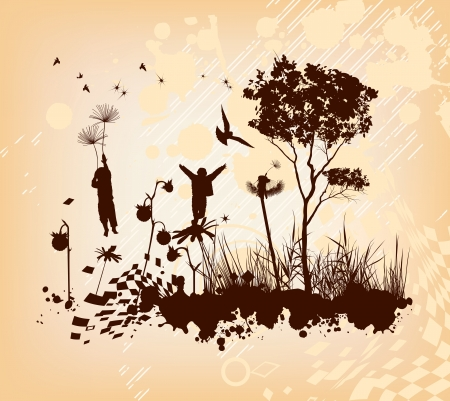 The boys are flying in the sky on the flowers background Vector