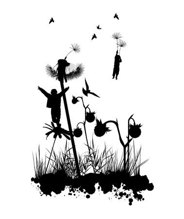 Die Jungen sind in den Himmel fliegen auf den Blumen schwarz und weiß
