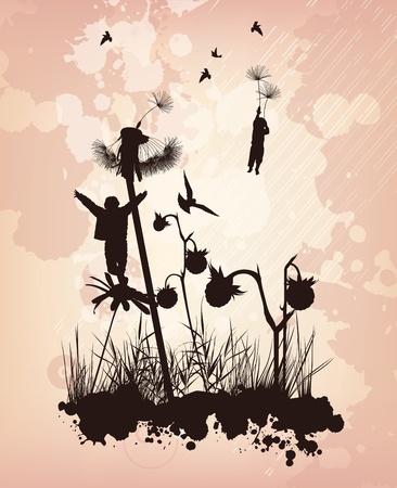 The boys are flying in the sky on the flowers Vector
