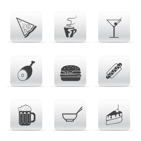 baked potatoes: button set icons food and drink Illustration