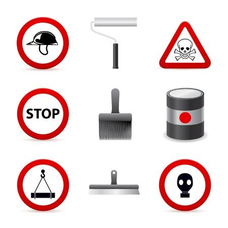 respirator: danger building icons