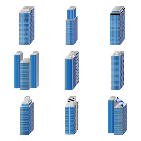 icons of business city buildings set Vector