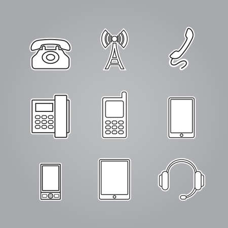 computer equipment: Icons phones and telecommunication devices