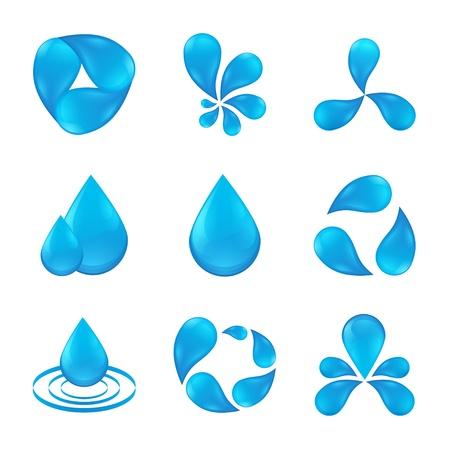 conjunto de iconos abstractos diseños aguas Ilustración de vector
