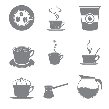 Set of beautiful gray icon coffee theme Stock Vector - 15651321