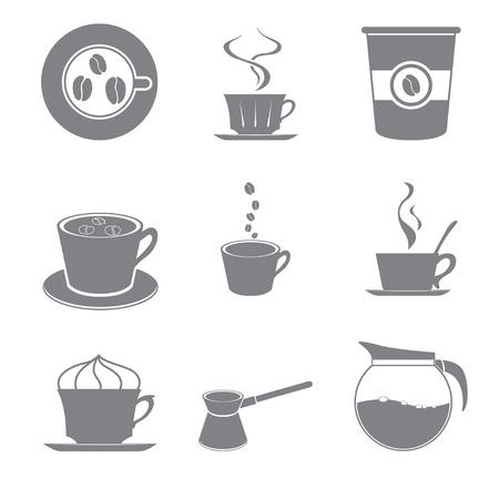 Set of beautiful gray icon coffee theme Stock Vector - 15651321