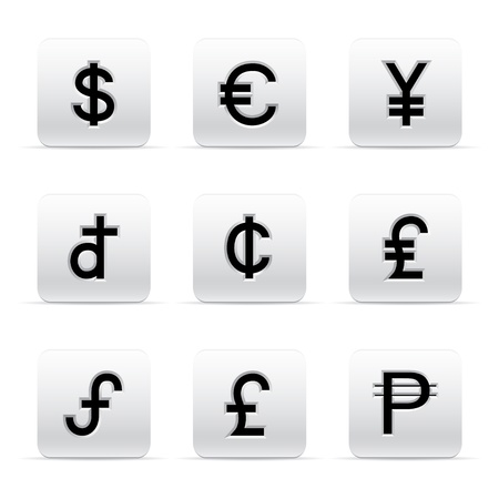 japanese currency: set of beautiful silver currency button icons