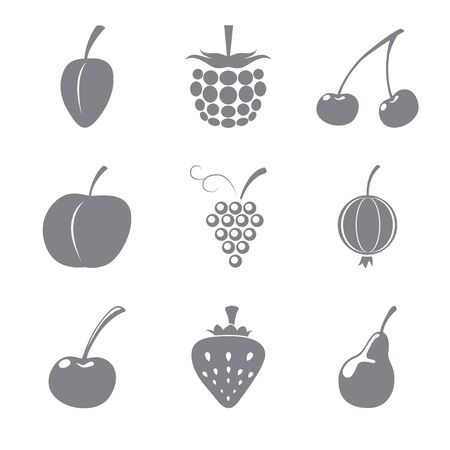 Set of gray icons of fruits Stock Vector - 15651183