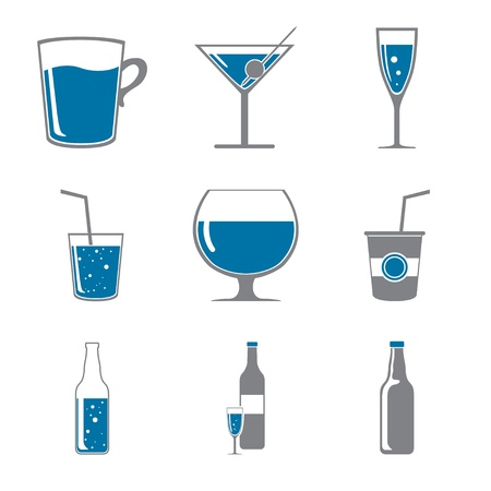 Set of icons of drinks gray blue