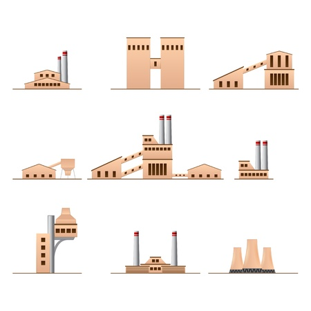 set of icons of Industrial buildings Stock Vector - 15651933
