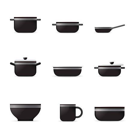 boil: Set of kitchenware icons isolated on white background Illustration