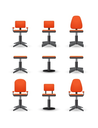 sedia ufficio: set di sedia da ufficio Vettoriali