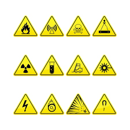 electrical safety: Yellow warning and danger icons collection