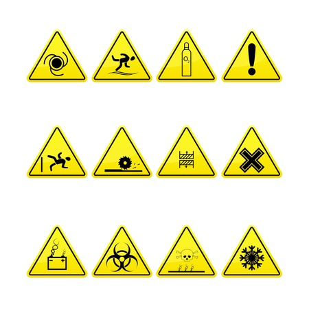gas mask warning sign: Yellow warning and danger signs collection