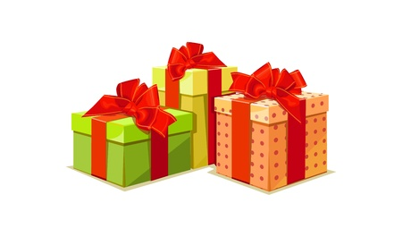 gift wrapped: illustration of colorful gift box on white background