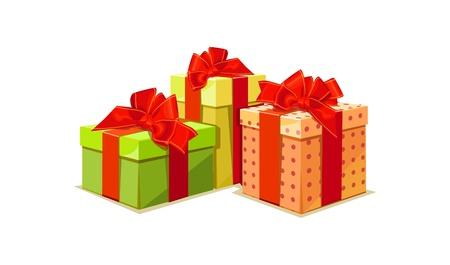 illustrazione di scatola regalo colorato su sfondo bianco Vettoriali