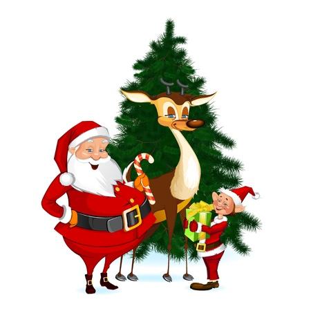 Santa Claus, Reindeer and Elf Stock Illustratie