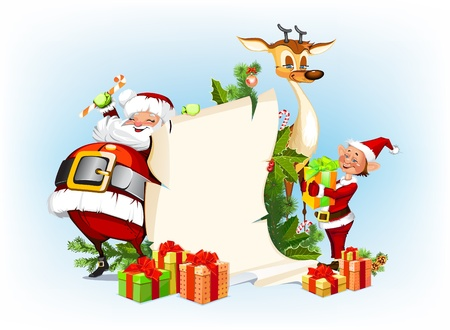 background with reindeer, Santa Claus and his elves