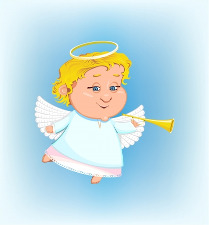 beautiful angel with a pipe Vector
