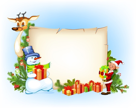 elves: Christmas  background with a snowman reindeer and an elf