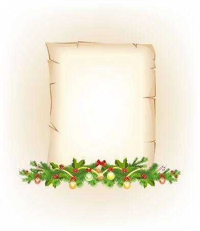 retrospect: Christmas border  old paper