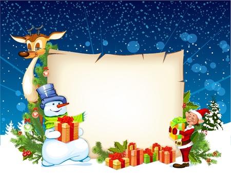 Christmas card with a snowman reindeer and an elf
