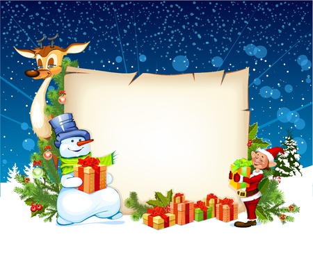 clip art santa claus: Christmas card with a snowman reindeer and an elf