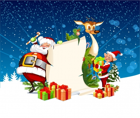 clip art santa claus: Christmas card with Santa Claus reindeer and elves Illustration