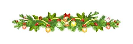 flor de pascua: Decoraci�n de Navidad con el �rbol de abeto Vectores