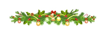 Christmas decoration with spruce tree Stock Illustratie