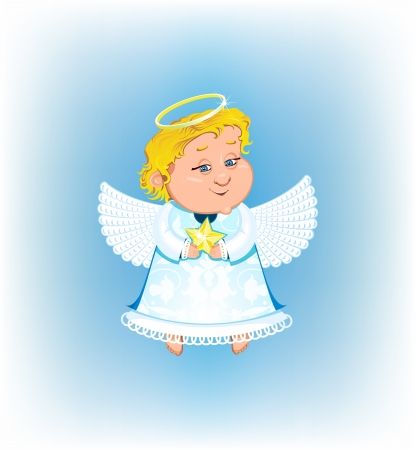 Cute angel with Christmas star Vector