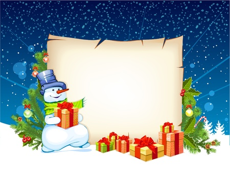 illustration of snowman with empty blank on horizontal background with christmas fir tree Illustration