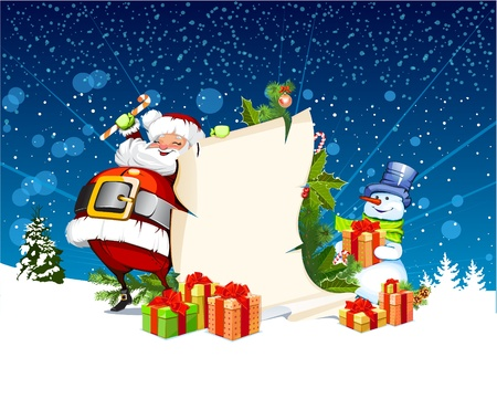 Santa Claus and snowman standing next to a scroll for gifts Stock Illustratie