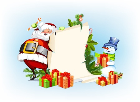 Santa Claus and snowman standing next to a scroll for souvenirs