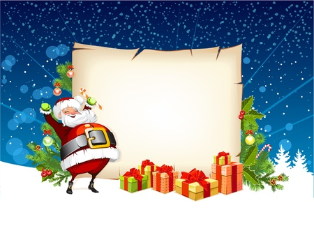 Santa Claus holding a candy and standing beside the scroll for gifts