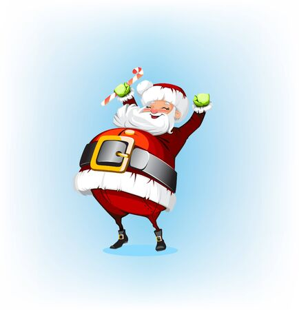 white bacjground: Santa Claus holding a candy