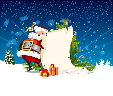 Santa Claus holding a roll of gift Stock Vector - 16386328