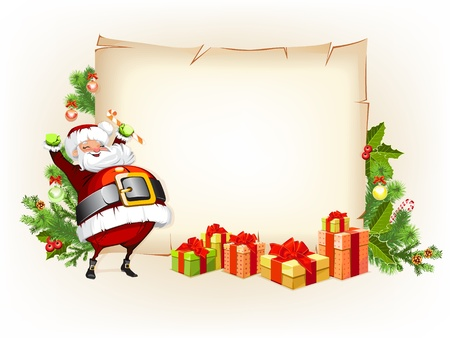 Santa Claus holding candy and standing beside scroll for gifts 向量圖像